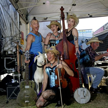 The Hill Billy Goats, Goat boy, sunny goat, goat girl, and goat stomper during the Ballina Coastal Country Music Festival. October 4, 2014.