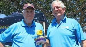 WINNER: John Anderssen and Bruce Bevan with the champion duck.