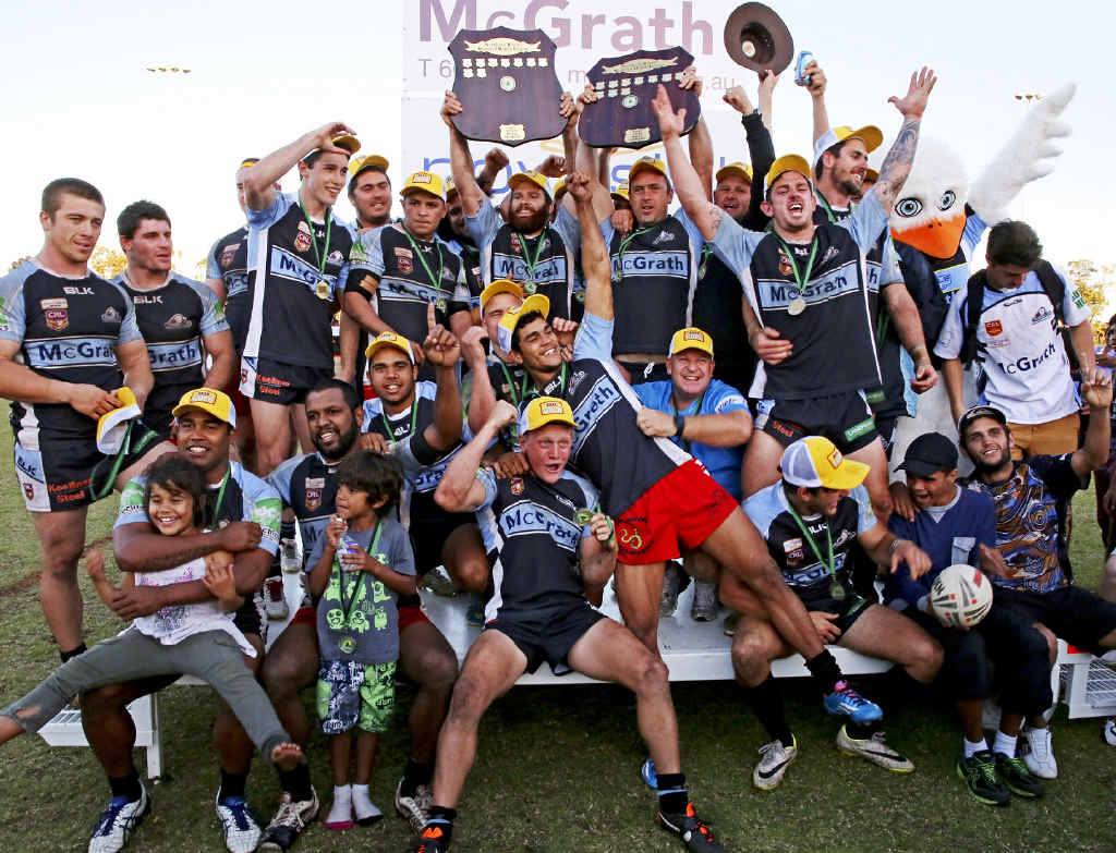 BACK-TO-BACK: The Ballina Seagulls celebrate clinching a second consecutive premiership with their 17-6 win over Byron Bay in the Northern Rivers Regional Rugby League grand final.