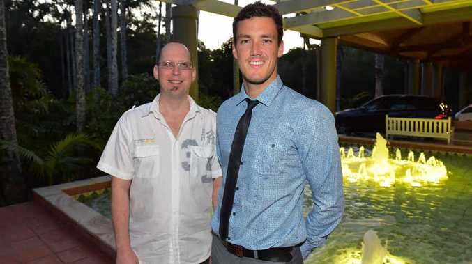 GREAT MESSAGE: Amputee-awareness night organiser Jamie Warner and guest speaker Blake Cochrane, a dual gold medallist at the London Paralympics.