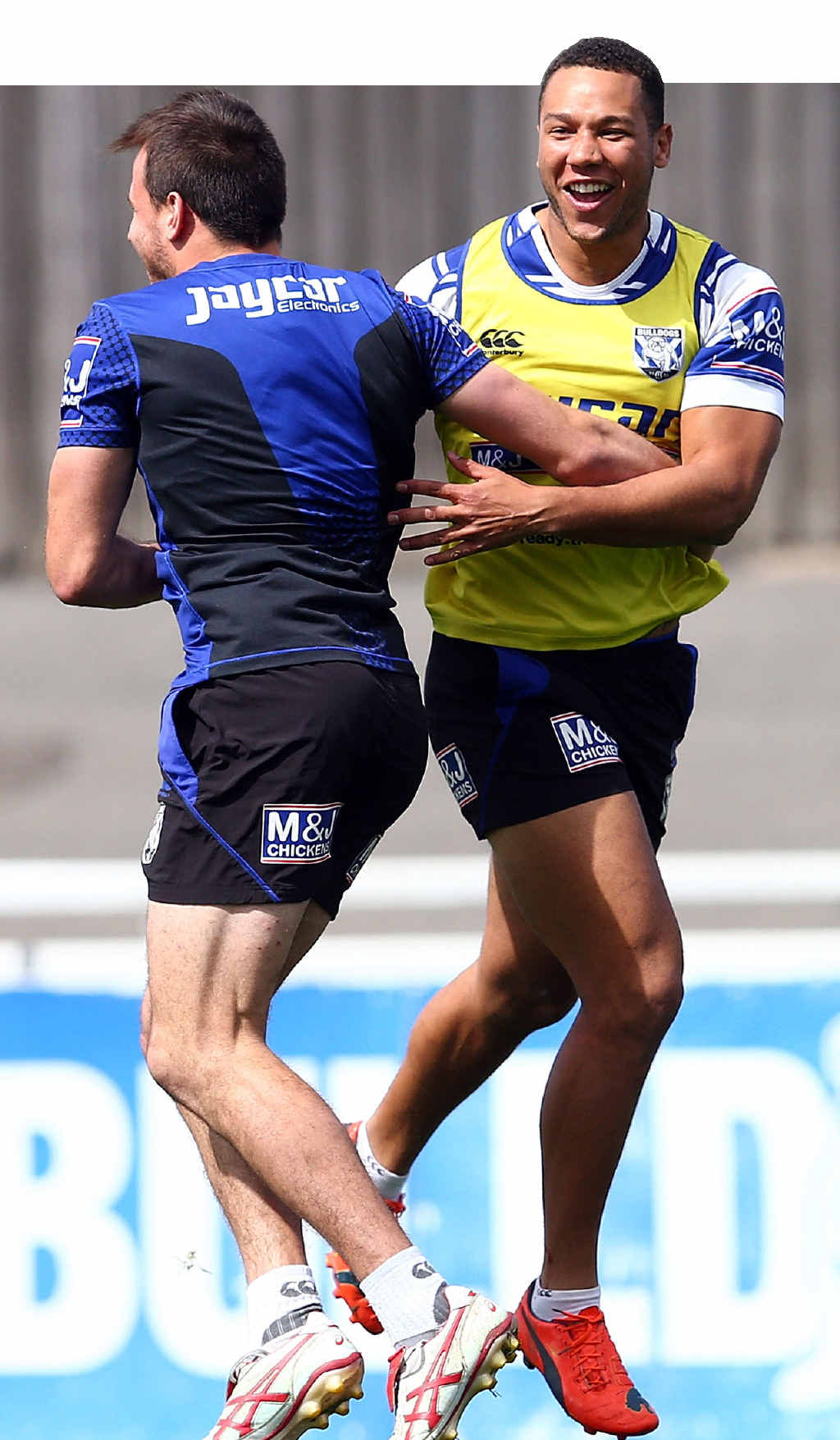 SPRING IN THEIR STEP: The excitement shines through as Canterbury's Josh Reynolds and Moses Mbye train at Belmore.