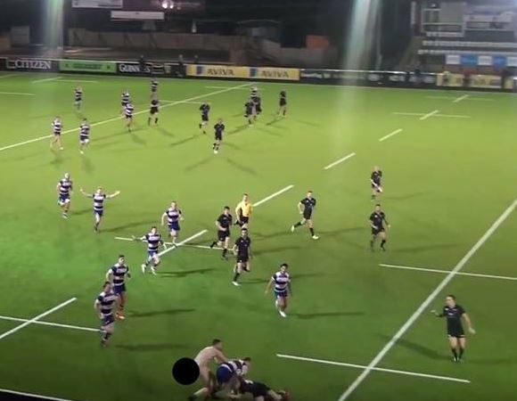 A streaker took to the field to tackle a Newcastle University player during their annual Varsity match against Team Northumbria