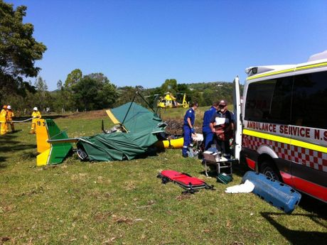 Emergency services at the scene of an ultralight plane crash at Knockrow. Photo by the Westpac Life Saver Rescue Helicopter