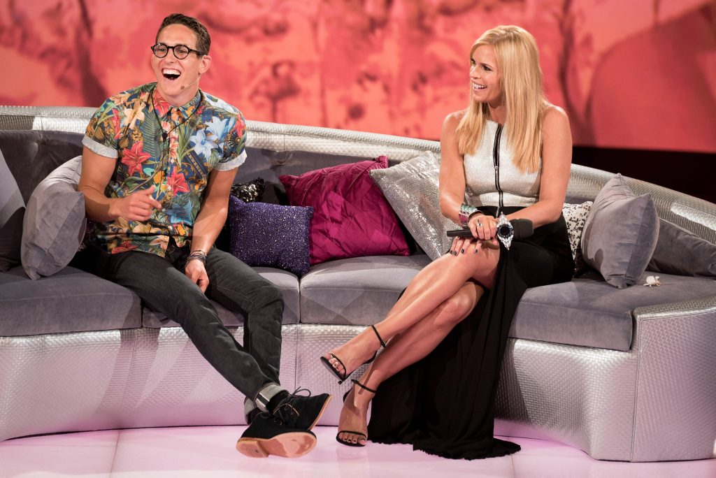 Evicted housemate Jake Richardson with host Sonia Kruger.