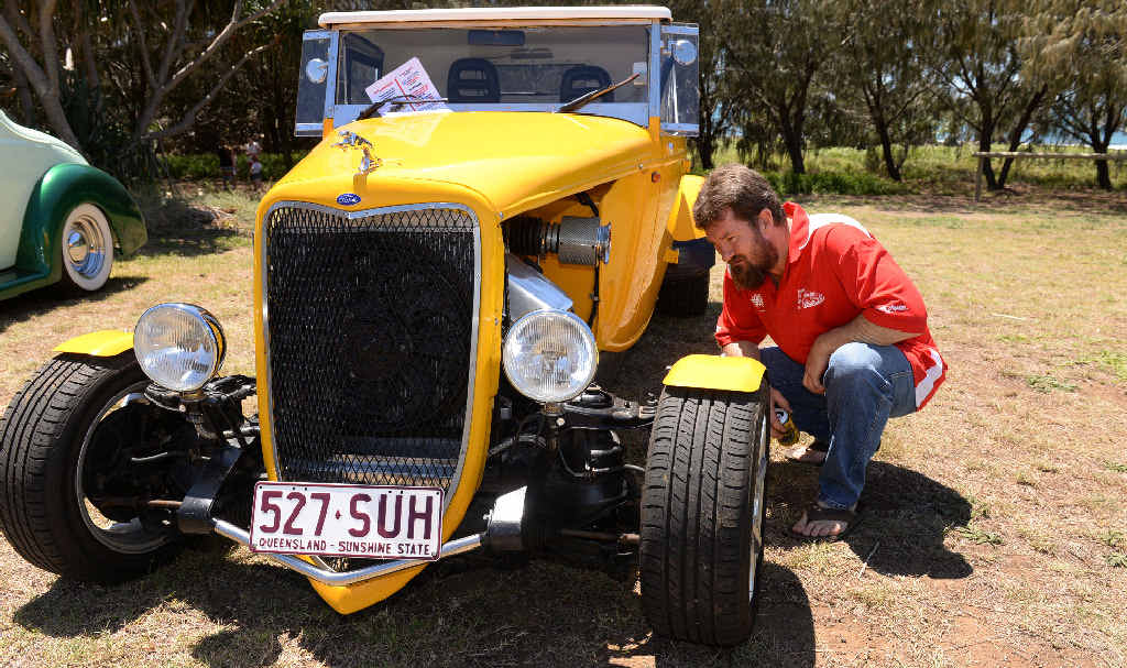 CAR SHOW: Jaycen Mathews from Emerald at the Rum City Rods and Customs event at Bargara yesterday.