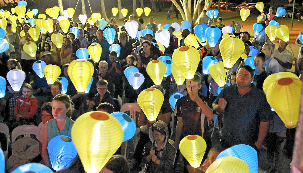 LIGHT THE NIGHT: Sufferers of leukaemia together with friends, relatives and supporters created a sea of light on the Bargara foreshore to help fund a cure for the disease.