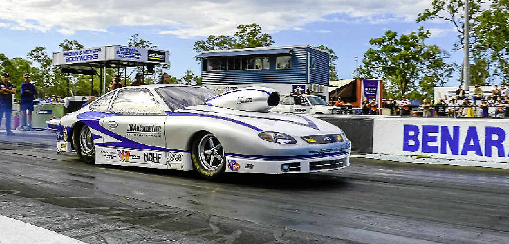 Ayr's John Barbagallo lines up for a pass in the Pro Stock class on Saturday.