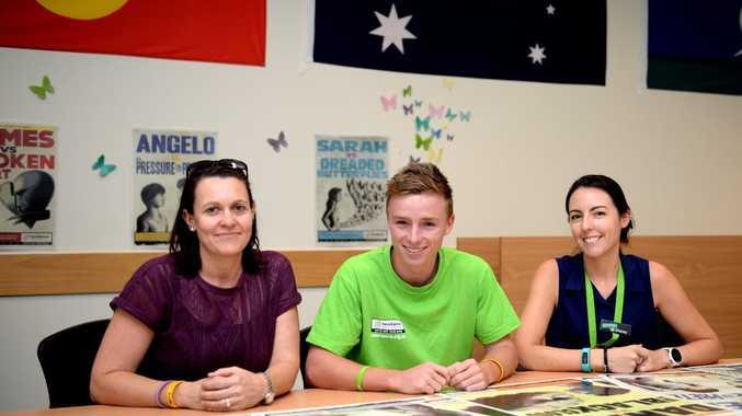 Jen Williams, Kade Horen and Stacey Borsboom from Headspace Rockhampton discuss Mental Health Week. Photo Allan Reinikka / The Morning Bulletin