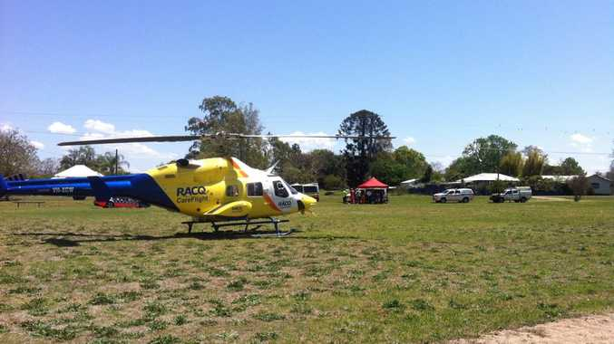 A man has been airlifted to hospital in a critical condition after a single vehicle crash west of Casino. Photo courtesy of RACQ CareFlight Rescue.