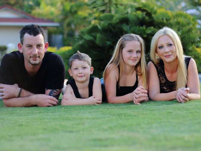 Chris Maher, with children Nixsen and Taneisha and wife Claire. The Buderim man is fundraising for life-saving surgery to combat his stage three bowel cancer.