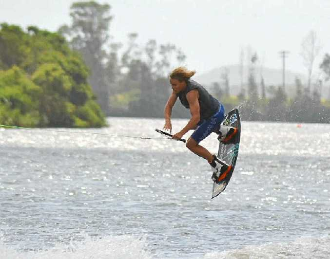 HIGH FLYER: Rourke Jenkins of the Gold Coast performs some amazing wake board stunts at the Woodburn Riverside Festival. Water-skiing demonstrations will feature again this year.