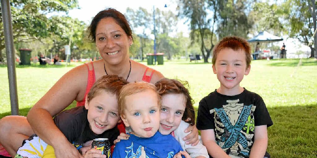 Natalia Muszkat with Lucas Beard, 7, Ben Pryke, 2, and sister Mae, 7, and Thomas Beard, 5.