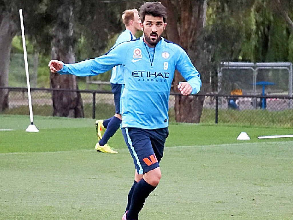 SPANISH STEPS: David Villa takes part in a Melbourne City training session yesterday.
