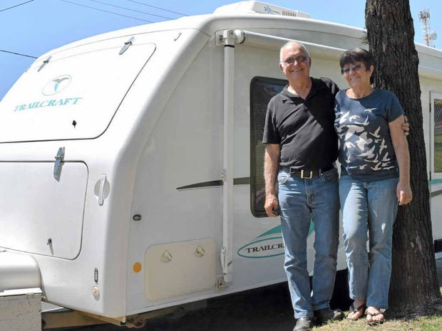 ROLLING ON: Ken and Barbara Kennedy stopped in Dalby for directions, before moving on to St George.