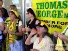 Anti-CSG protesters gather outside the office of Lismore MP Thomas George.