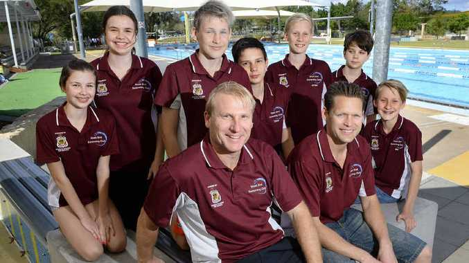 DIVING IN: West End Swimming Club is preparing for a new season. President Darren Rosolak and Colin Shields (front) with club members (from left) Tarnee Coupland, Karla Coupland, Joshua Shields, Tabor Christensen Jordan Rosolak, Windon Christensen and Ben Rosolak.