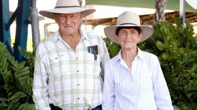 Ernie and Margaret Mollenhagen at CQLX for Brahman Week. Photo Allan Reinikka / The Morning Bulletin