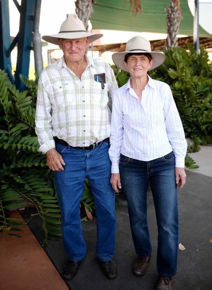 Ernie and Margaret Mollenhagen at CQLX for Brahman Week. Photo Allan Reinikka / The Morning Bulletin