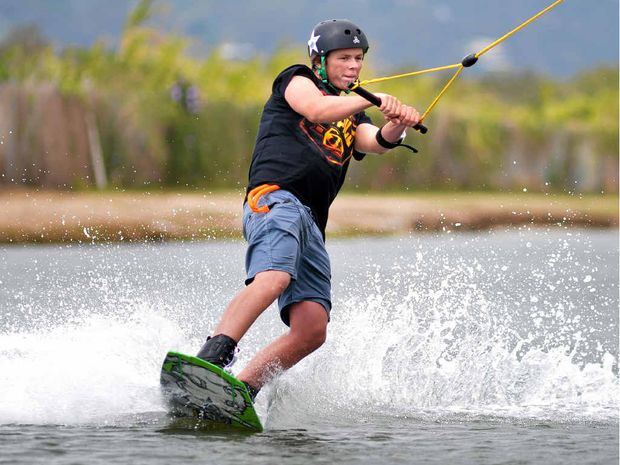 IN THE RECORD BOOKS: Chad Dumble during his world record continuous wakeboarding session.