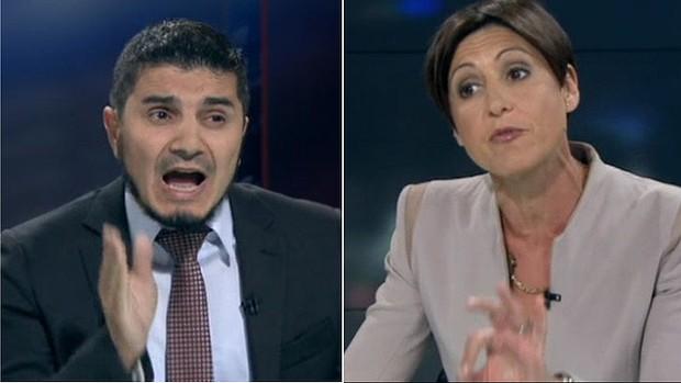 Lateline host Emma Alberici, right, interviews Hizb ut-Tahrir spokesperson Wassim Doureihi.