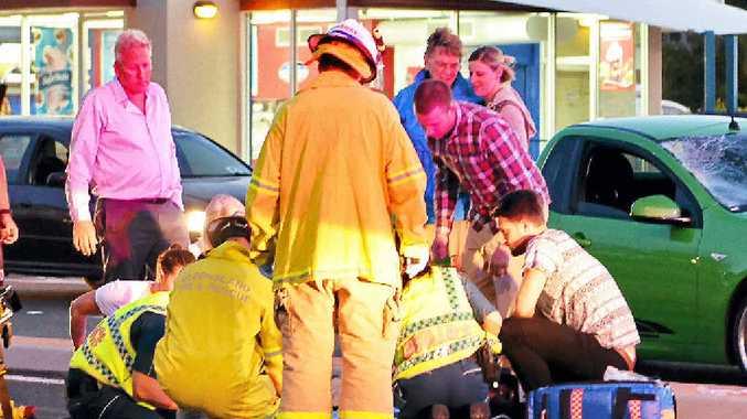 SAD SCENE: A desperate struggle to save an elderly man struck by a car on Alexandra Parade, Alexandra Headland.