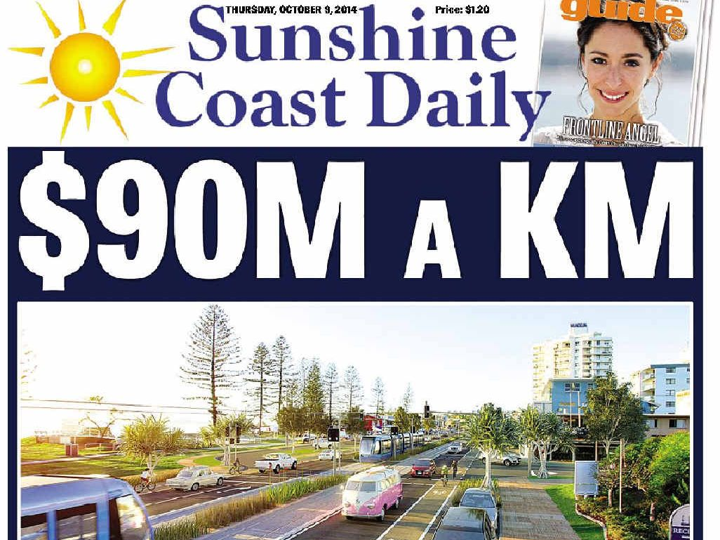 EXPENSIVE: Our front page news about the light rail proposal.