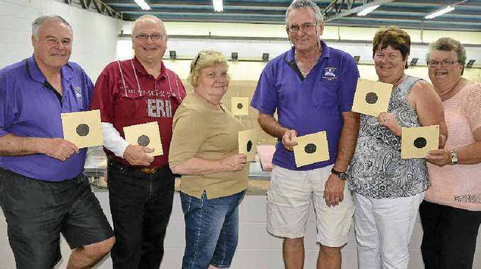 ON TARGET: Bob Campbell, Ross and Desley Dossetto, Griffo and Sandy Bancroft and Carol Hannemann at the Warwick Pistol Club Range for the weekend Rose and Rodeo Shoot.