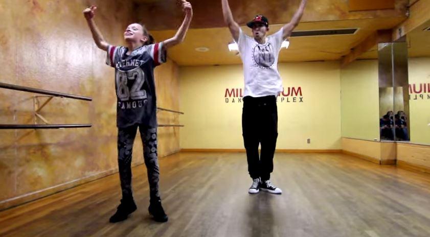 Dancer Taylor Hatala, 11, with choreographer Matt Steffanina