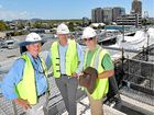 NO BREEZE, PLEASE: Reed Property Group is preparing to raise the curtains on its $20 million redevelopment of the Big Top Shopping Centre. Pictured (from left) are Reed Construction Group Queensland construction manager John Schultz, Reed Property Group development officer Ross Webb and Shane Stanley from Shane Stanley Farmers Markets.