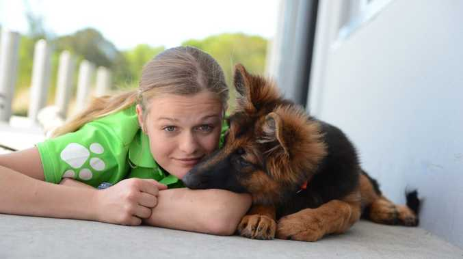 PUPPY LOVE: Sophie Thomson from PETstock Ballina with her puppy Cleopatra.
