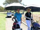 SOCIAL DAY: Cathy Simmers and Kathy Beaumont enjoy the game at the BMG Bargara Ladies Classic Mixed golf day. Photo: Paul Donaldson / NewsMail
