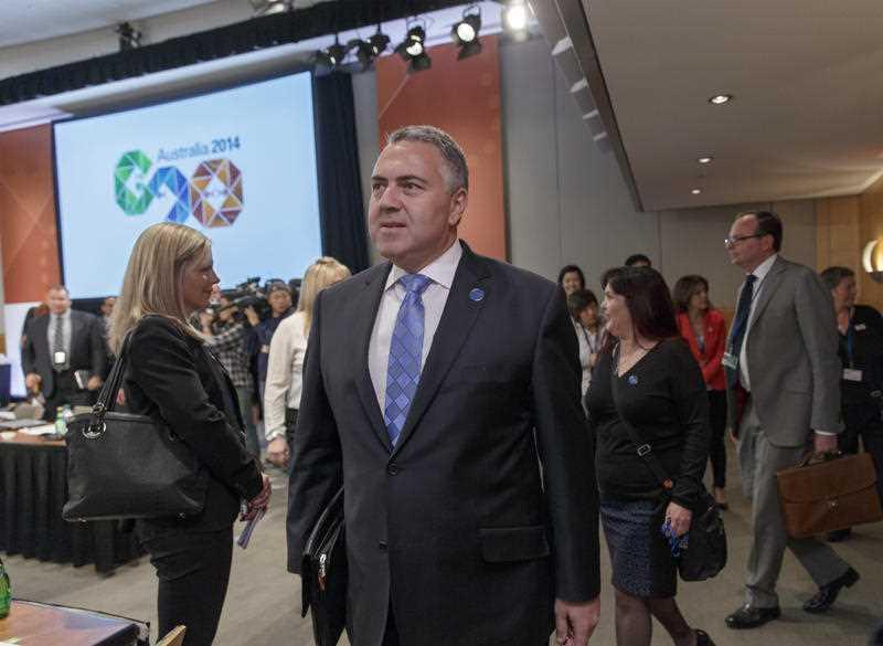 Australia's Treasurer Joe Hockey, chair of the Group of Twenty, center, joins economic leaders at the International Monetary Fund and World Bank meetings in Washington, Friday, Oct. 10, 2014.