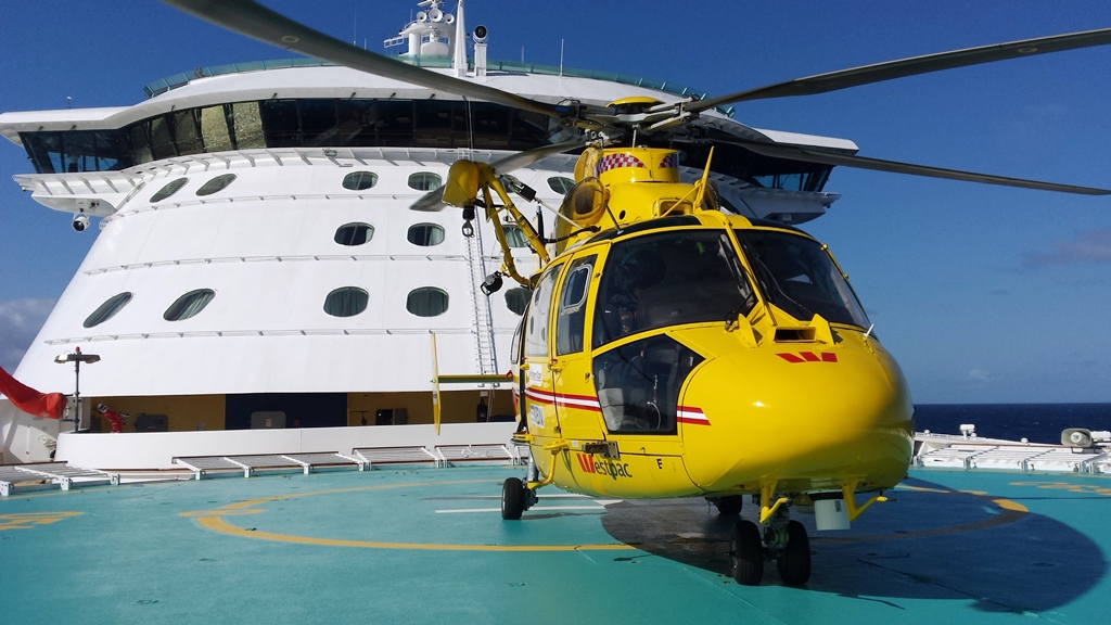 The Westpac Life Saver Rescue Helicopter was tasked to the Radiance of the Seas cruise ship off Coffs Harbour to transport a passenger suffering from abdominal pains.