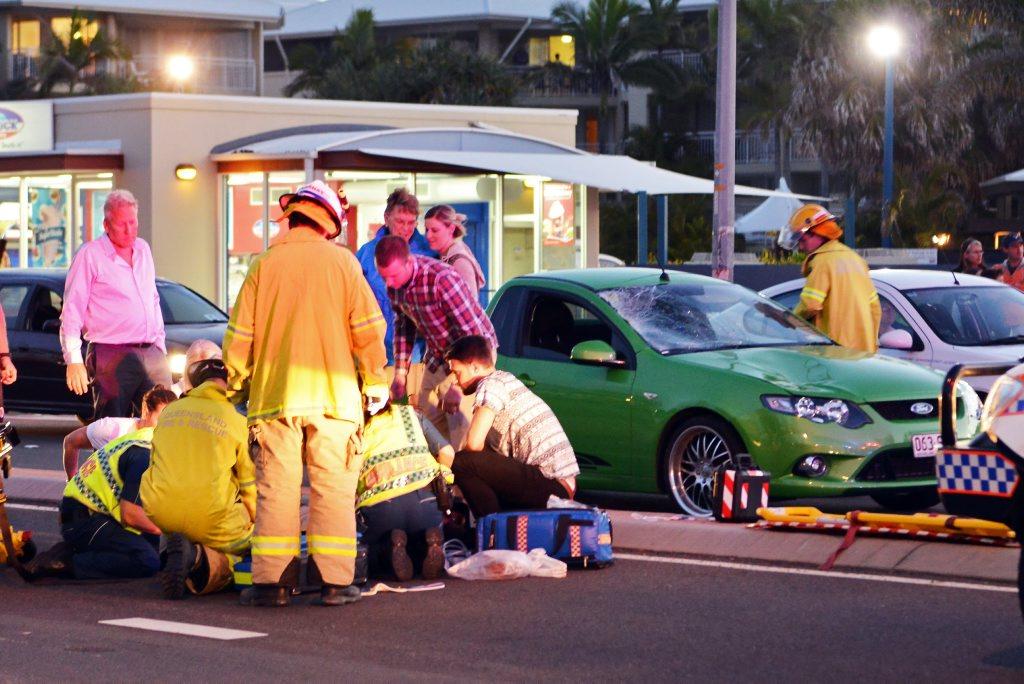 Pedestrain struck by vehicle on Alexandra Parade, Alexandra. (near Alex Surf Club). Photo Patrick Woods / Sunshine Coast Daily