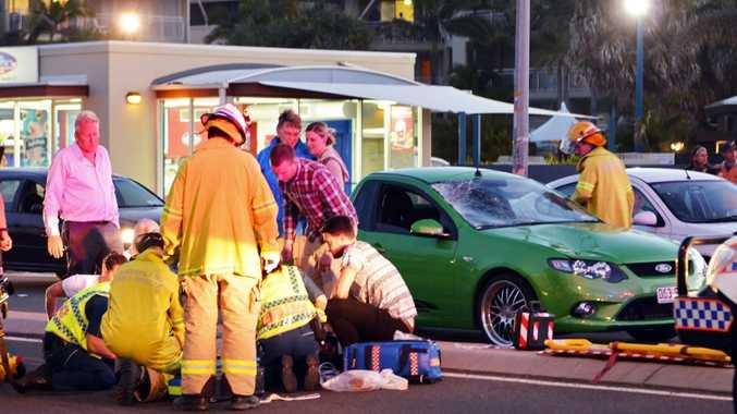 Pedestrain struck by vehicle on Alexandra Parade, Alexandra. (near Alex Surf Club). Photo Patrick Woods / Sunshine Coast Daily