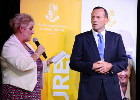 Member for Capricornia Michelle Landry and Australian Prime Minister Tony Abbott at Rockhampton Girls Grammar School for an afternoon tea. Photo Sharyn O'Neill / The Morning Bulletin