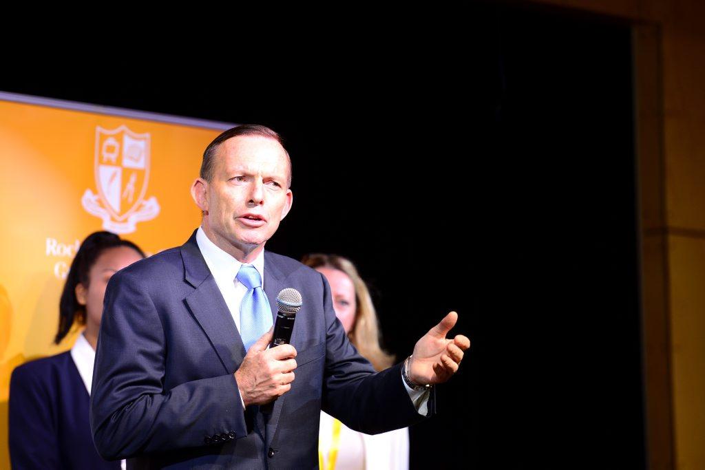 Australian Prime Minister Tony Abbott at Rockhampton Girls Grammar School for an afternoon tea. Photo Sharyn O'Neill / The Morning Bulletin
