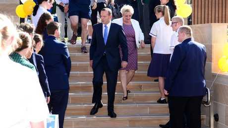 Australian Prime Minister Tony Abbott and Member for Capricornia Michelle Landry arrive at Rockhampton Girls Grammar School for an afternoon tea. Photo Sharyn O'Neill / The Morning Bulletin