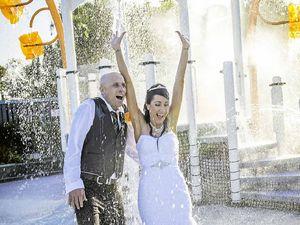 Bride trashes wedding dress at Splash Zone