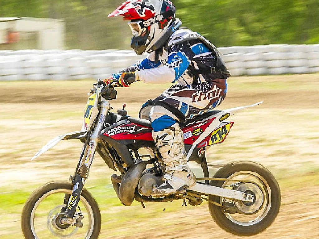 IN A HURRY: Ryan Scarborough during the Benaraby Dirtriders meet at the Benaraby Raceway.