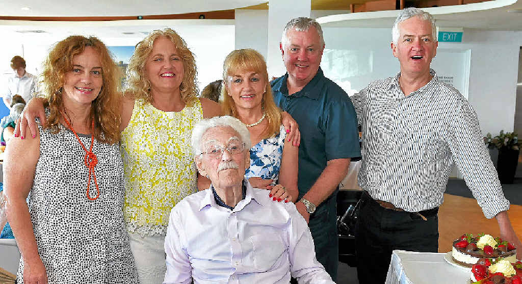 """GOOD SHOW: William """"Harry"""" Goodwin celebrates his 100th birthday with five of his seven children, including Caroline Goodwin, Louise Dean and Jane, Bob and Jim Goodwin."""