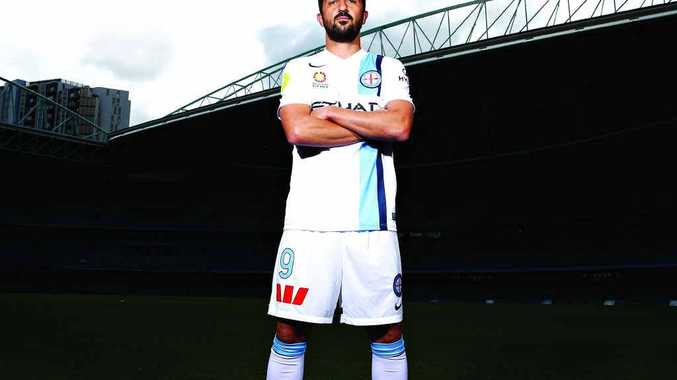 READY TO RAISE THE ROOF: Melbourne City's David Villa poses during the A-League 2014-15 season launch at Etihad Stadium this week.