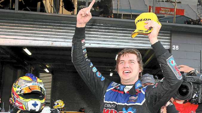 PARTY TIME: Chaz Mostert celebrates after winning the Bathurst 1000.