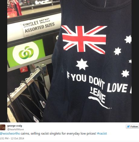 The singlet found in Cairns Woolworths -  @heartsR4love Twitter