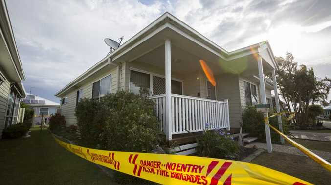 FATAL FIRE: The home in the Palm Lake resort where a bedroom fire started late on Sunday night. Photo Adam Hourigan / The Daily Examiner