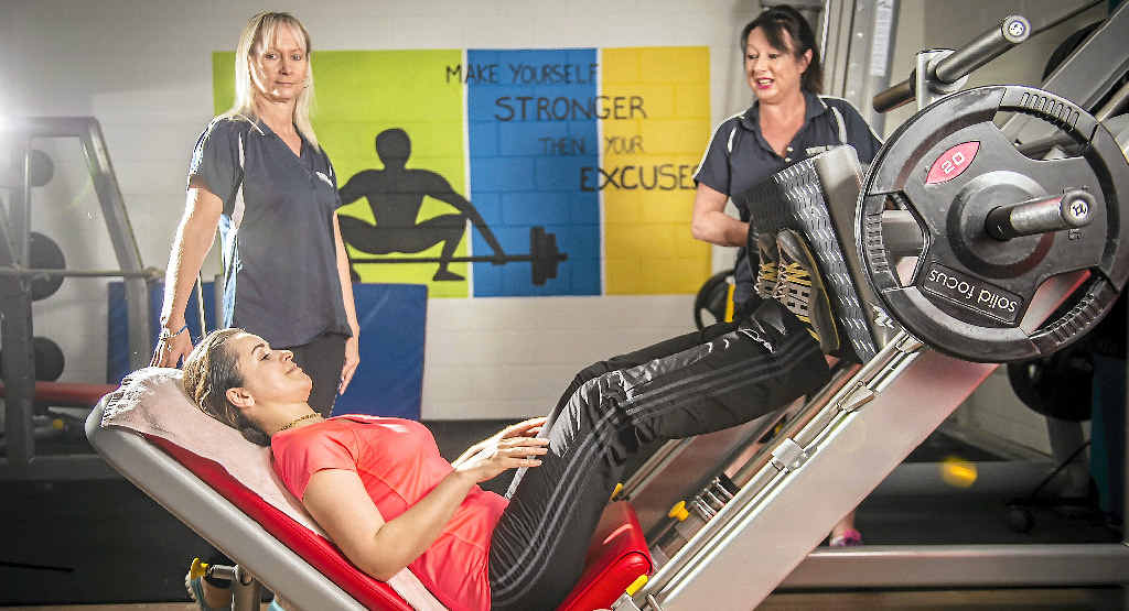 TOP SUPPORT: Client Roshanak Molaei and owner/managers Cate Driver and Colleen Harris at True Blue Fitness, Tannum Sands.