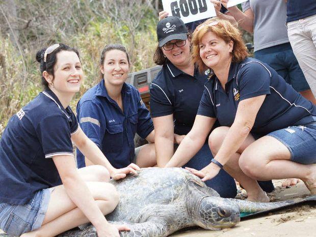 GOODBYE: Volunteers Jamee Robertson, Katelin Ainsworth, Jess Ryan and Marni Morrison wish Tina luck on her journey.
