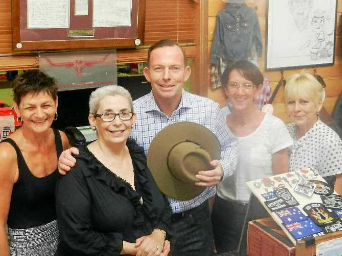 VIP VISIT: Rockhampton country store Georges staff (from left) Lorraine Jones, Catherine George, Kate Knobbs and Julianne Cameron were surprised when PM Tony Abbott dropped in to buy some clothes.