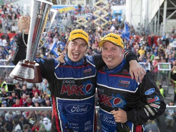 FORD star Chaz Mostert (left) and co-driver Paul Morris celebrate their epic Bathurst 1000 win at last year's classic.