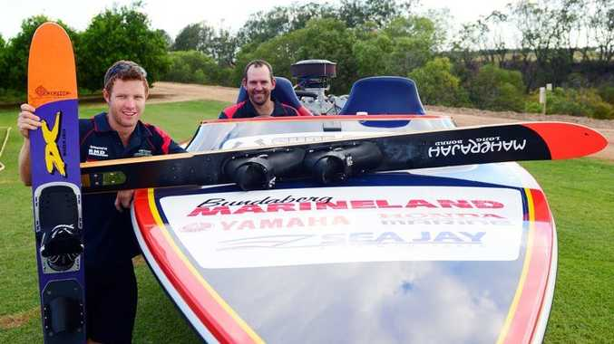 TOUGH TASK: Adam Forgacs and Jason Loeskow are ready for round one of the Queensland Ski Racing series to be held at Sandy Hook. Photo: Ben Turnbull / NewsMail